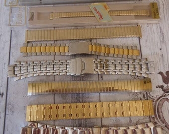 Lot of Vintage Watch Bands, Some New Old Stock, Gold and Silver Tone, Leather, 11 Pieces