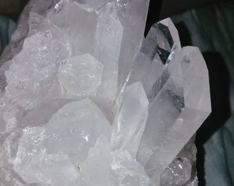 Huge Twin Flame Isis Water Clear Optical Lemurian Seed Quartz Crystal Cluster 18 Terminations Water Clear Lemurian Crystal  Chakra Healing
