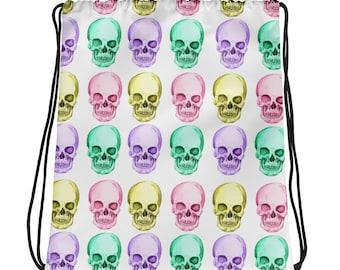 Skulls - Yellow, Pink, Purple, Aqua -Drawstring bag