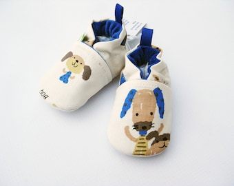 SALE Medium Classic Blue Puppy / All Fabric Soft Sole Baby Shoes / Ready to Ship / Babies