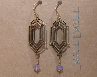 Tanzanite Art Deco Earrings - Dangle - Downton Abbey Inspired - Gemstone
