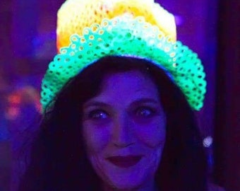 Top hat neon headpiece headdress hand drawn multicolour