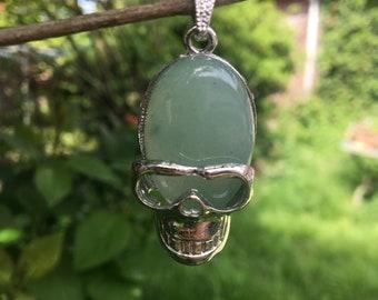 Jade stone skull pendant