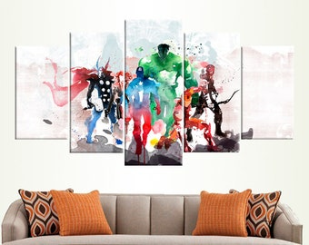Marvel Avengers Watercolor Superheroes Canvas Wall Art Room Decor Picture  For Kid Room Captain America Iron