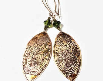 Etched Copper Leaves Earrings, Free Shipping Domestic
