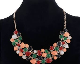Festive Statement Necklace - Geometric Mosaic Stones in Multi Color