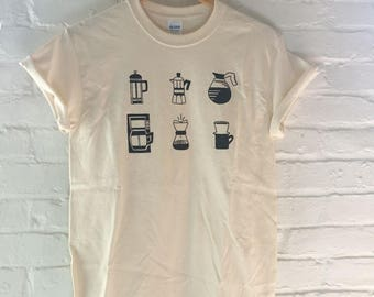 Coffee T-Shirt, Food Shirt, Coffee Gift, Screen Printed T Shirt, Clothing Gift, Foodie Gift