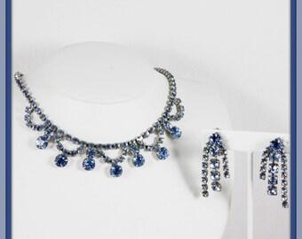 Vintage Blue Rhinestone Jewlery Set,Vintage Rhinestone Jewelry Set,Vintage Rhinestone Necklace,Vintage Rhinestone Demi-Parure,Vintage Jewel