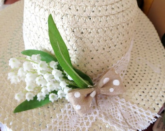 Lily of the valley Sun Hat -Women's Wide Brim -flower hat- Beach hat - Pool hat