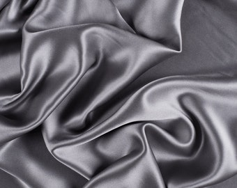 "45"" Wide 100% Silk Charmeuse Gray (1000M192)"