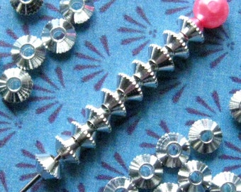 Silver Saucer Beads 4mm - 100 Pieces - Bright Silver Finish, 4mm Spacer Beads, 4mm Silver Bicone Beads, Nickle Free, Textured Edge (SBD0021)