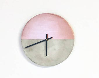 Cement Wall Clock, Rose Gold Concrete Clock, Home Decor, Home and Living, Decor and Housewares