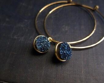 Gold Hoop Druzy Earrings,Gold Hoop Earrings,Geode Earrings,Druzy Earrings Gold,Geode Jewelry,Large Hoop Earrings,Dangle Hoops,Gold Hoops