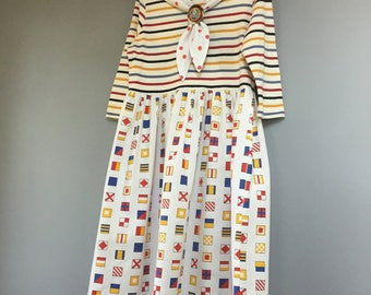 Nautical Sailor Dress, Red White Blue & Yellow, Boat Flags, Removable Reversible Collar, Wave Brooch, Pin, Yacht Club, CosPlay OOAK