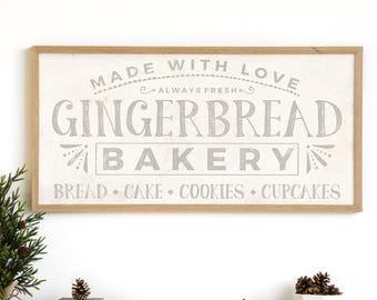 Gingerbread Bakery - Bakery Print - Gingerbread Print - Holiday Print - Christmas Print - Vintage Christmas Decor - Rustic Holiday Print