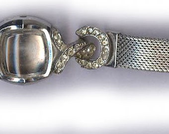 rare art deco RHINESTONE WATCH BAND bracelet use as a basis for bracelet or use for blingy parts bridal finding