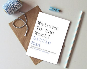 New Baby Boy card - Baby boy card - Welcome to the world little Man card - Modern new baby card