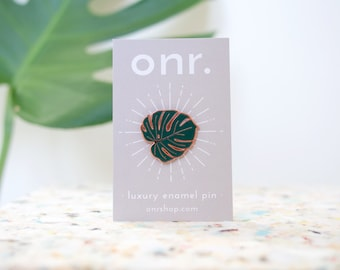 Enamel Lapel Pin Badge - Monstera Leaf Cheese Plant //