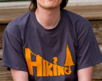 HIKING Hand-Crafted Screen-Printed 100% Cotton T-Shirt in Charcoal Gray & Orange