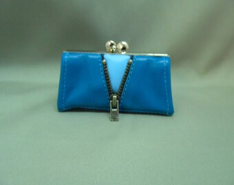 retro blue leather wallet
