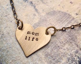 Maman vie collier, collier #momlife, Collier coeur, cadeau pour maman, cadeau pour bestie, collier de fête des mères, cadeau de la nouvelle maman