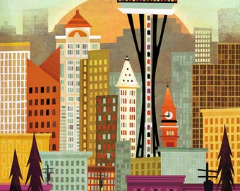 Seattle Skyline by Amber Leaders 5x7, 8x10, 11x14, 16x20 with Canvas Options art print mid-century modern