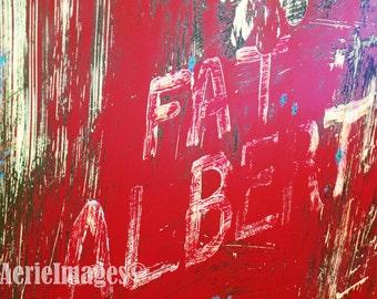 Fat Albert the Truck, Metal Industrial Art Instant Download Photo, Vivid Red Green Blue
