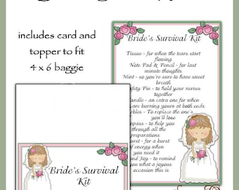 Bride's Survival Kit includes Topper and Card - Digital Printable - Immediate Download