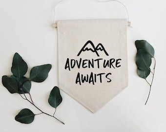 Adventure Awaits Banner, Adventure Awaits Sign, Adventure Awaits Nursery, Mountain Nursery, Adventure Is Out There, Boy Nursery Decor