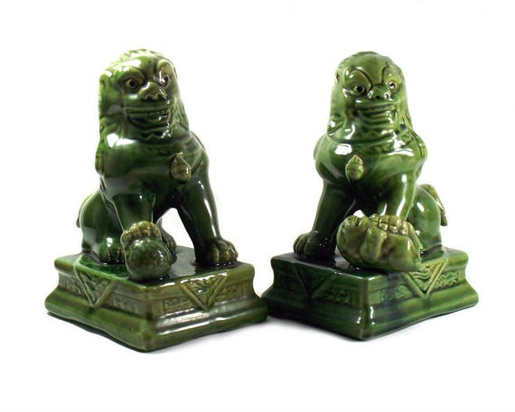 Large Vintage Green Chinese Foo Dogs
