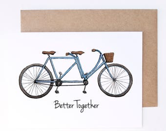 Better together / anniversary card / tandem wedding / tandem bike card / wedding card / wedding gifts for couples / bike card / wedding gift