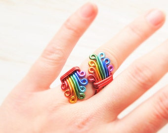 Rainbow Ring, Bohemian ring, Gay pride Ring, Rainbow Wedding, LGBT Pride jewelry, Lesbian wedding gift, Lesbian couple, Rainbow party gift