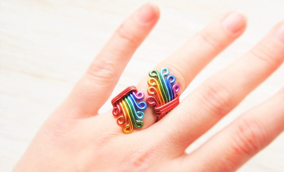 Rainbow Ring Bohemian ring Gay pride Ring Rainbow Wedding