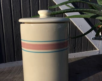 Vintage McCoy pottery pink and blue banded sugar canister with lid #4099.
