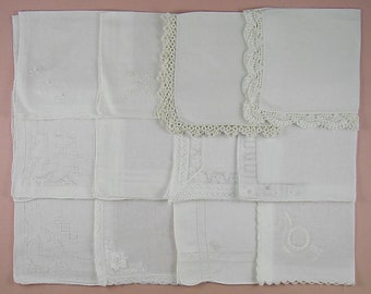 Vintage Hanky Lot,Wedding Hanky Lot,One Dozen White Wedding Vintage Hankies Handkerchiefs (Lot #93)