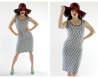 90s Op Art Dress- M, Bombshell, Groovy