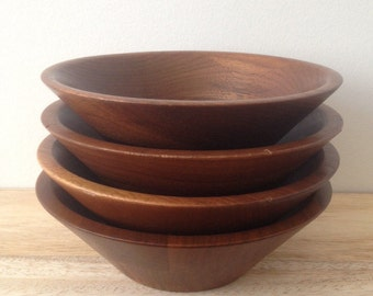 mid century modern walnut wood bowls