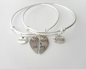 2 Partners in Crime, Tiny Friends Bracelets/ In crime jewelry, in crime bracelet, bff jewelry, gift ideas, Sister gift, Bff Gift, Sister
