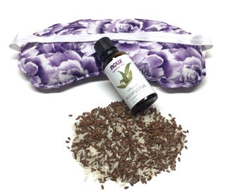 Flaxseed and Rice Eye Pillow, Hot and cold, Relaxing Eye Pillow, Lavender Eye Pillow, Eye Pillow Therapy Pack, Spa Gift, Lavender Eye Pillow