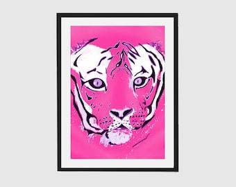 Pink Tiger Art Print, Pink Print, Tiger Wall Art, Tiger Artwork, Pink Wall Art
