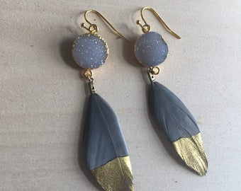 Druzy feather earrings, feather earrings, druzy earrings, druzy jewelry, feather jewelry, gifts for her