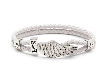 Angel Wing Bracelet Silver with White Leather  (free shipping)
