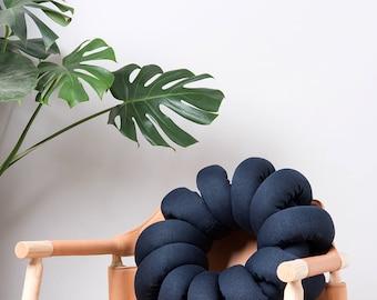 Dark Blue round Knot pillow , Knot Pillows, knot cushions,  Dark Blue modern pillow, Dark Blue cushion, Dark Blue throw pillow