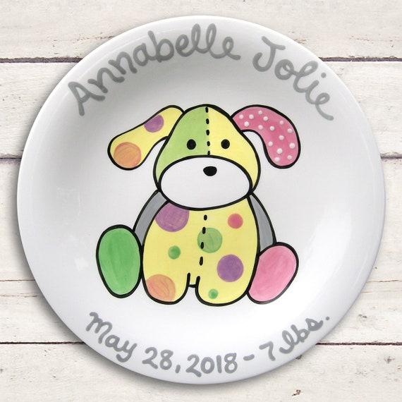 Newborn baby gift personalized ceramic plate hand painted negle Choice Image