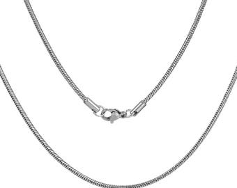 free UK postage - Pack of 2 Stainless Steel Snake Chain Necklace 49.5cm