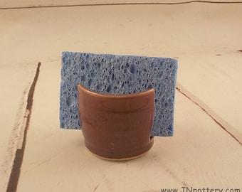 Ceramic Sponge Holder - Stoneware Sponge Dryer Bowl - Speckle Plum Purple - Handmade Pottery - Kitchen Essential - Ready to Ship h497