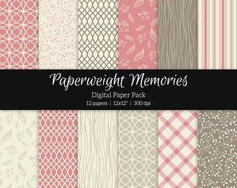 """Digital patterned paper - Friends Forever Rose Pink -  digital scrapbooking - patterned paper - 12x12"""" 300dpi  - Commercial Use"""