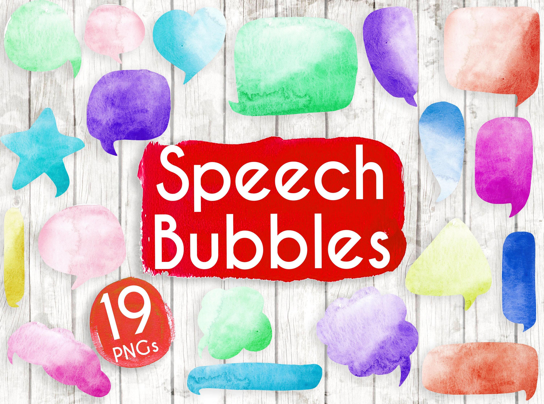 Multi coloured Speech Bubbles Clipart - Watercolour Bubbles ...