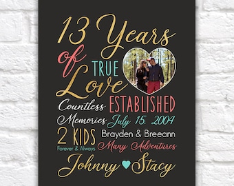 Personalized Anniversary Art, Choose ANY year, Customizable Colors, Couple Dating, Together Forever - 13 years, 13th Anniversary | WF537