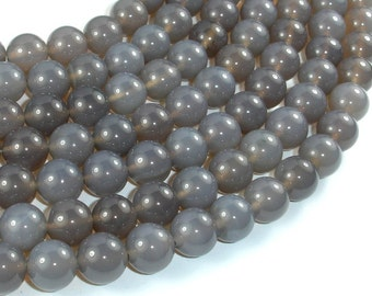 Gray Agate, 10mm Round Beads, 15.5 Inch, Full strand, Approx 38 beads, Hole 1mm (241054007)